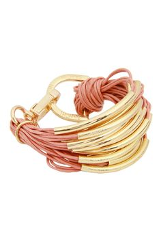 Coral Multi-Cord Brushed Tube Bead Bracelet