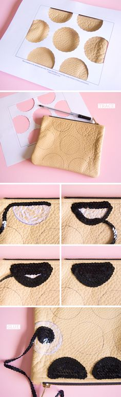 do it yourself, american apparel clutch, black sequins, glue