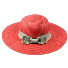 Coral Straw Hat with Grey Lace Band, http://www.merx2go.com/shopexd.asp?id=6539