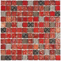mosaque rouge et grise en marbre par bati orient code article mami32 - Mosaique Salle De Bain Rouge