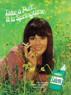 Items similar to 1969 Salem Cigarettes Ad Vintage Advertising Art Mod Woman in Meadow Retro Bar / Cabin Wall Art Decor on Etsy Pin Up Vintage, Pub Vintage, Vintage Photos, Vintage Photographs, Old Advertisements, Retro Advertising, Retro Ads, Retro Food, Vintage Cigarette Ads
