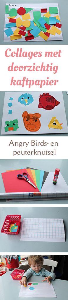 Met transparant kaftpapier kun je peuters en kleuters hele leuke collages laten knutselen. Bijvoorbeeld een Angry Birds-knutselwerkje voor een kleuter en gekleurde vormen voor peuters. Nodig: - Gekleurd papier - Lijm  - Schaar - Witte A4-tjes - Transparant kaftpapier van: www.mizflurry.nl
