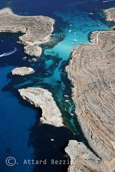aerial view of Blue Lagoon, Comino, Malta