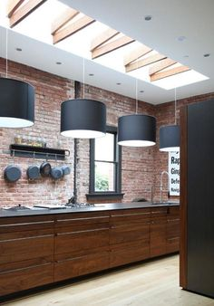 Black and brick with cherry wood units