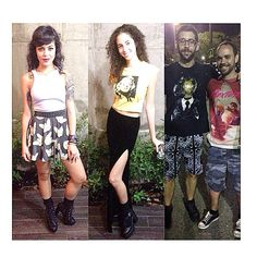 This past weekend we spotted lots of OPIUM ADDICTS   At Guillermo's birthday party we spotted Melody @_m3l0dy_ in our cat print skater skirt, lavender cropped top, studded belt and boooties, Kristen @kristen_lis in our Monroe cropped top and felt high waist skirt... Then at israel Vibration's concert we spotted OPIUM co-owner Alejandro Umpierre @alepics in our Everything breaks tee as well as René @orionreno in our NOXIUZ tee