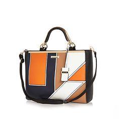 Navy geo print tote handbag $94.00