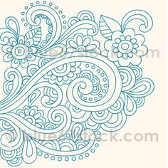 Hand-Drawn Psychedelic Paisley Henna Tattoo Doodle with Flowers and Swirls by blue67design, via Flickr
