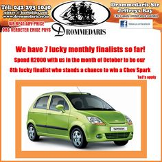 We are looking for our October finalist who will stand a chance to win a #chevspark. Spend R2000 or more at #Drommedaris and you could be lucky number 8! T&C's Apply