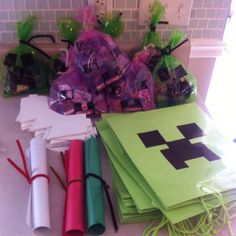 Cole's Minecraft 8th birthday!!!  Maps and bags!