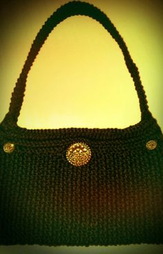 Black and Gold Handmade Knitted Purse Bag by NadiasKnits on Etsy, $55.00