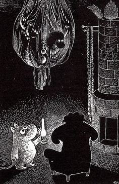 Moomin uses a lantern to see in the dark - by Tove Jansson Illustrators, Fine Art, Drawings, Image, Illustration Art, Tove Jansson, Art, Pictures, Fairy Tales