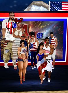 The forth of July, in the front, our daughter Velcat, Mr and Mrs Teez and in the back ( the tall people ) nephew Qez and his woman, neice Bunnz and Arkeisa and my husband Ezekiel....