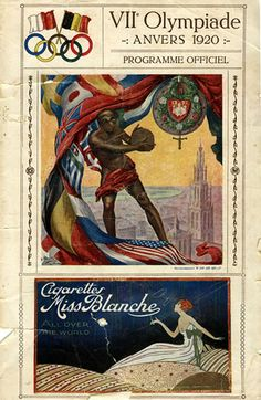 The programme cover for the 1920 Olympic Games at Antwerp, Belgium.