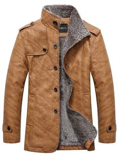 Stand Collar Single-Breasted Epaulet Embellished Jacket - mens business  shoes, boot shoes for mens, cheap mens shoes c59a6460e848