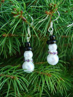 Very Cute Faux Pearl Snowmen Earrings Sterling by Sewartzee, $6.00