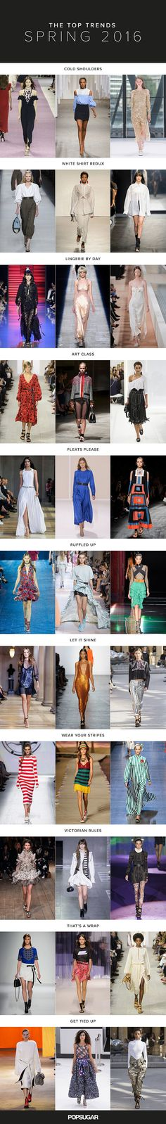 The 11 Biggest Trends For 2016  Loving that metallics are going to be cool in the spring! And who doesn't love wrap skirts, sexy open shoulder shirts and a waist cinching sash to show off their #snatched body!