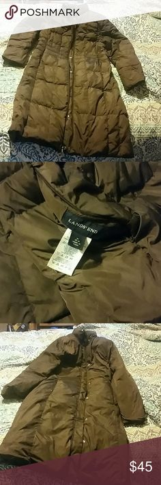 Land's End Down Puffer Jacket reversible Chocolate brown reversible jacket size m Lands' End Jackets & Coats
