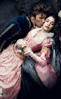 """""""Sleeping Beauty"""" Princess Aurora, 2009. Photo by Annie Leibovitz for Disney.[Zac Efron and Vanessa Hudgens as Prince Phillip and Aurora  Rose."""