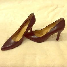 Nine West Gwendle Leather Pump - practically new! Black leather pumps! 3 3/4 wooden heal, pointed toe, synthetic sole, practically new! Only worn once. Minimal white markings on the bottom of the heal. Unnoticeable when worn. Nine West Shoes Heels