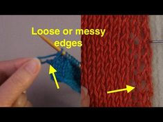 Solving the problem of big loops at the end of a row,/loose, messy edges--once we understand what that means. Tips for getting help in online knitting forums. Knitting Help, Knitting Stiches, Knitting For Beginners, Knitting Patterns, Quilting 101, Knitting Projects, Knitting Tutorials, Knitting Ideas, Knit Edge