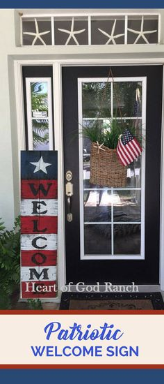 Americana Welcome sign | 4th of July Porch Sign | Reversible, other side says Happy Fall Y'All | Memorial Day or Independence Day front porch decor | Reclaimed Wood | rustic farmhouse home decor | #affiliate