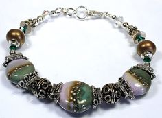 Beautyfull Handmade Lampwork Bead Bracelet With by nellajuwels, $35.00