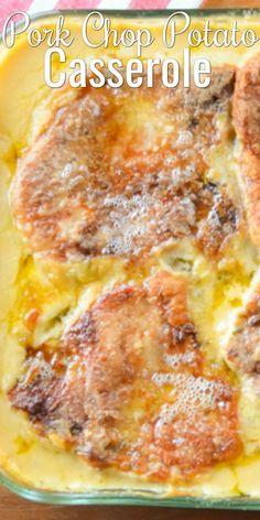 Cheesy Pork Chop Potato Casserole Pork Chop Casserole makes super tender pork chops with cheesy scallop potatoes. Cheesy Pork Chop Casserole is a family favorite dinner recipe from Serena Bakes Simply From Scratch. Pork Chop Casserole, Potatoe Casserole Recipes, Cheesy Potato Casserole, Scalloped Potato Casserole, Macaroni Casserole, Hamburger Casserole, Cheesy Potatoes, Chicken Casserole, Gratin