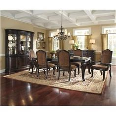 A.R.T. Furniture Inc LéGrand Leg Extension Dining Table Set w/ Arm & Side Chairs - Wolf Furniture - Dining 7 (or more) Piece Set Pennsylvania, Maryland, Virginia