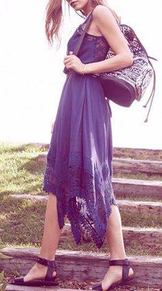 Sun & Shadow Handkerchief Hem Tank Dress