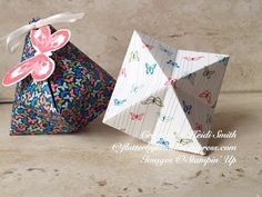"""Origami Treat Pouch • YouTube. This project uses a 6"""" square of paper. It does not use glue nor do you cut anything."""