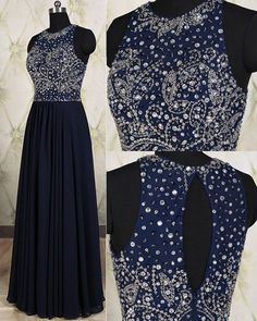 Long Navy Blue Chiffon Formal Dresses Featuring Beaded Bodice With Sheer Bateau Neckline -- Long Elegant Prom Dress, Sexy Beaded Evening Gown