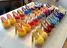 The heels are made with Pirouette cookies, soles with Milano cookies and then your own homemade cupcakes.