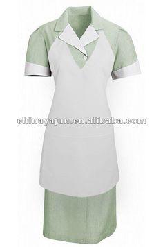 women T/C facric green housekeeping uniform for hotel wear