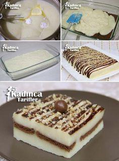 Semolina Dessert with Biscuit Recipe Semolina Dessert with Biscuit Recipe Easy Cake Recipes, Easy Desserts, Sweet Recipes, Far Breton, Turkish Sweets, Desserts With Biscuits, Light Snacks, Turkish Recipes, Biscuit Recipe