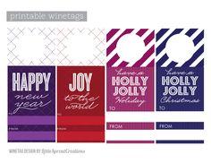 free #printable #free holiday wine tags