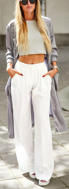 Crop top + wide leg pant.