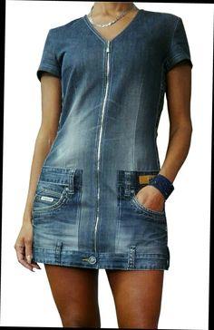 Denim dress (old trousers) - # pants dress- Jeanskleid (alte Hose) – Denim dress (old pants) - Jeans Refashion, Diy Clothes Refashion, Diy Clothes Jeans, Sewing Clothes, Sewing Jeans, Clothes Crafts, Artisanats Denim, Mode Hippie, Mode Jeans