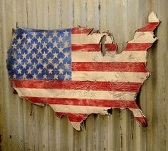 Start with an unfinished board shaped like the USA and paint it to resemble the American flag. Thisboardcan be used for decoration or a servingtray | Connecticut in Style