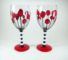 Hand Painted Wine Glasses Flowers | Wine glasses, hand painted, set of two red flowers with stripes