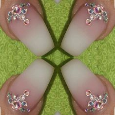 Gel nails  Faded french  Baby boomer Swarovski crystals Stunning nails