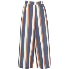 Warehouse Striped Culottes, Blue (20 BHD) ❤ liked on Polyvore featuring pants, capris, elastic waist pants, relaxed fit pants, blue stripe pants, striped trousers and wide-leg trousers