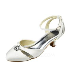 Women's Satin Low Heel Closed Toe Pumps With Rhinestone (047068112)