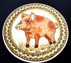 Pig Folk Art Plate Stoneware Piglet Platter Rothwoman Studio Pottery Farmhouse