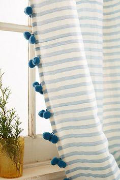 striped pompom curtains