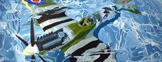 "Benjamin Anderson: 'spitfire' oil on linen 60"" x 168"" 2008"