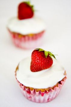 strawberry banana cupcakes...but I think i'd do a chocolate frosting or chocolate covered strawberry on top