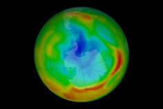 In the early scientists began to realize that CFCs were creating a thin spot—a hole—in the ozone layer over Antarctica every spring. This series of satellite images shows the ozone hole on the day of its maximum depth each year from 1979 through Ozone Layer Hole, Earth Layers, Global Map, Physical Geography, Printable Maps, Pictures To Draw, Global Warming, Nasa, Sustainability