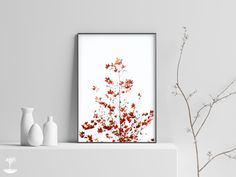 Minimalist Fall Wall Art Print,Autumn Tree Print,Branches Wall Art, | Infinite Art Shop