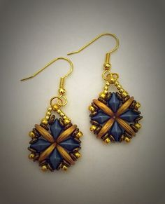 Earring made with Diamonduo and Crescent beads. Beautiful Rain Jewelry USA