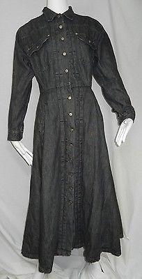 Vintage Ralph Lauren Dress Sz 8 Long Black Denim Button Up Western Modest USA